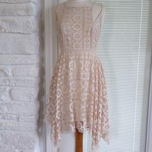Open Back Free People Ivory Crochet Lace Dress